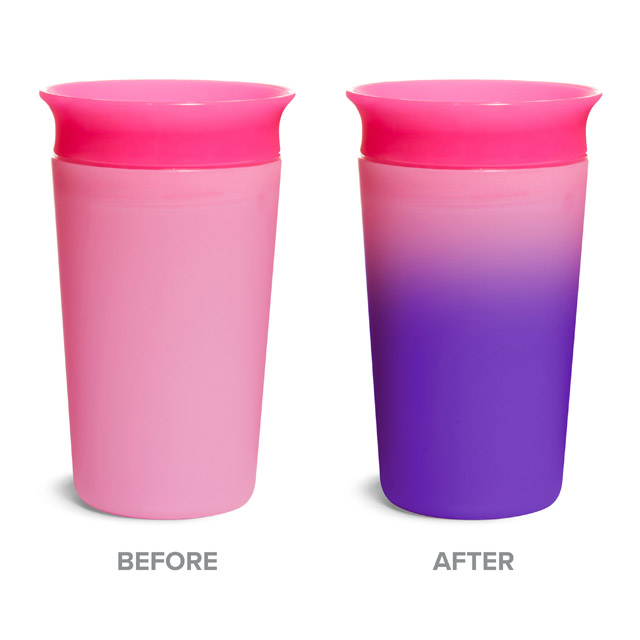 Before and After images of color-changing cup with cold contents
